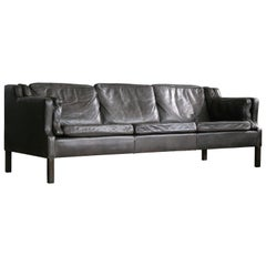 Danish Borge Mogensen Style Three-Seat Sofa in Espresso Colored Leather
