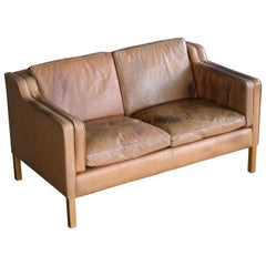 Danish Borge Mogensen Style Two-Seat Tan Leather Sofa with Patina by Stouby