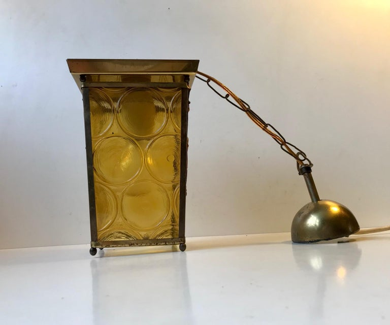 Partially Caged functionalist flush mount or ceiling lamp with yellow glass panels. Manufactured in Denmark during the 1950s, probably by either Voss or Lyfa. This light can be used as a low table lamp as well. It has a bakelit fitting and its