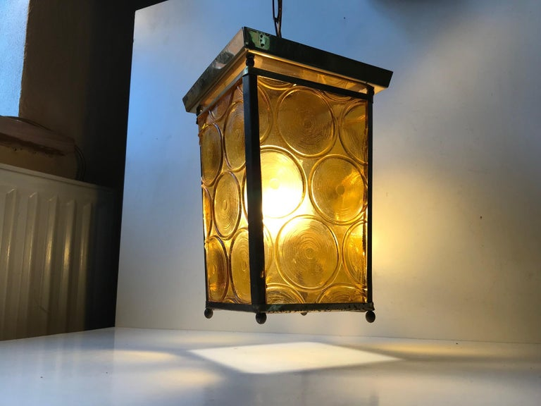Art Deco Danish Brass and Yellow Glass Funkis Ceiling Light or Flush Mount, 1950s For Sale