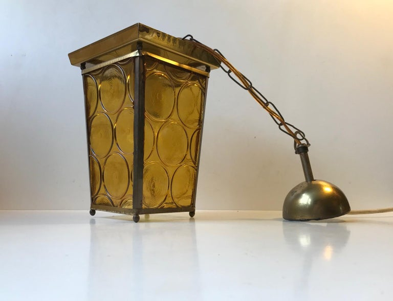 Danish Brass and Yellow Glass Funkis Ceiling Light or Flush Mount, 1950s In Good Condition For Sale In Esbjerg, DK