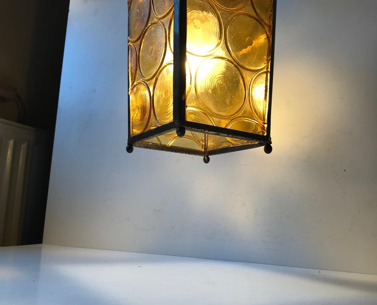Mid-20th Century Danish Brass and Yellow Glass Funkis Ceiling Light or Flush Mount, 1950s For Sale