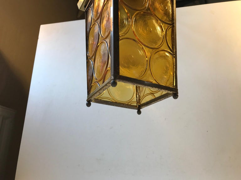 Danish Brass and Yellow Glass Funkis Ceiling Light or Flush Mount, 1950s For Sale 1