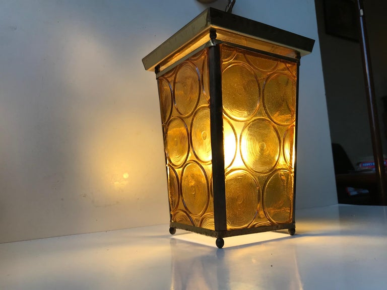 Danish Brass and Yellow Glass Funkis Ceiling Light or Flush Mount, 1950s For Sale 2