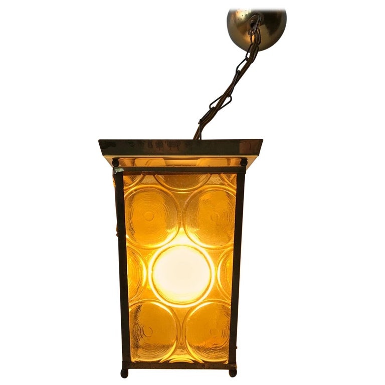 Danish Brass and Yellow Glass Funkis Ceiling Light or Flush Mount, 1950s For Sale
