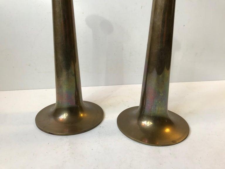 Mid-Century Modern Danish Brass Candlesticks with Rainbow Patina by Hans Bolling, Torben Ørskov For Sale