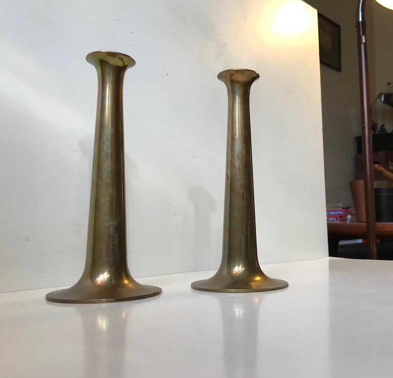 Danish Brass Candlesticks with Rainbow Patina by Hans Bolling, Torben Ørskov In Good Condition For Sale In Esbjerg, DK
