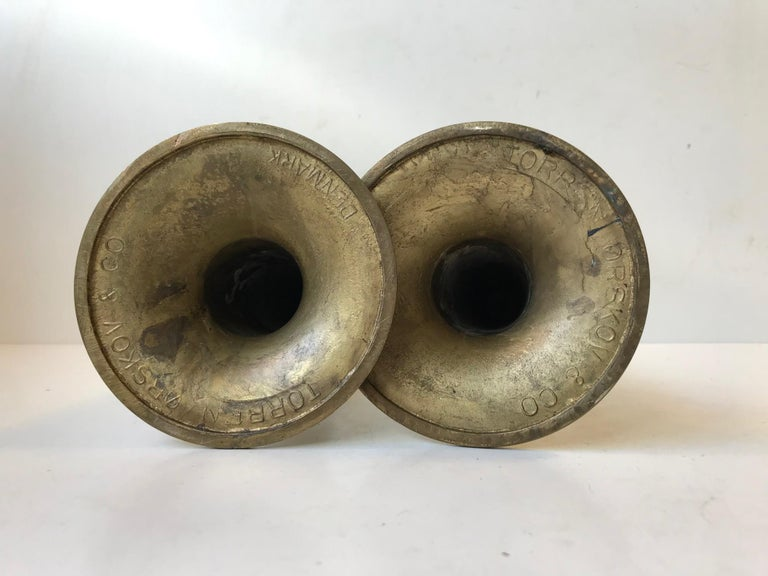 Mid-20th Century Danish Brass Candlesticks with Rainbow Patina by Hans Bolling, Torben Ørskov For Sale
