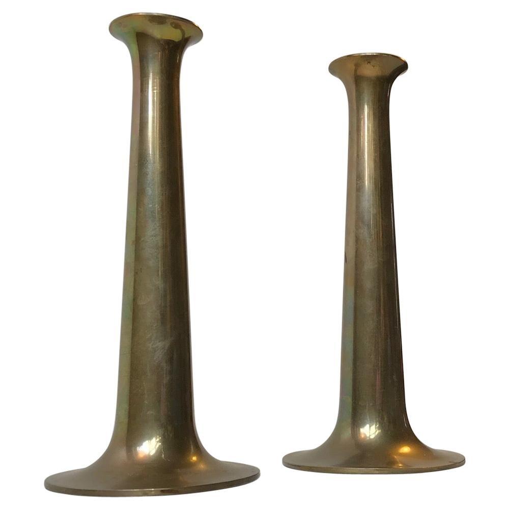 Danish Brass Candlesticks with Rainbow Patina by Hans Bolling, Torben Ørskov