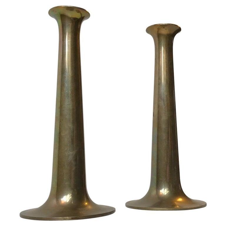 Danish Brass Candlesticks with Rainbow Patina by Hans Bolling, Torben Ørskov For Sale