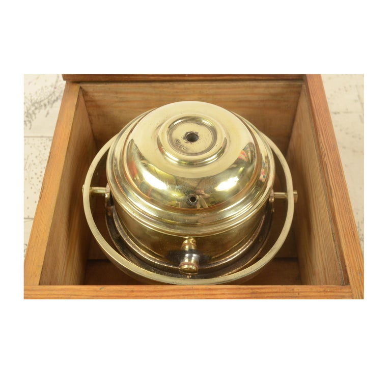 Danish Brass Compass in its Original Wooden Box, 1920s-1930s For Sale 4