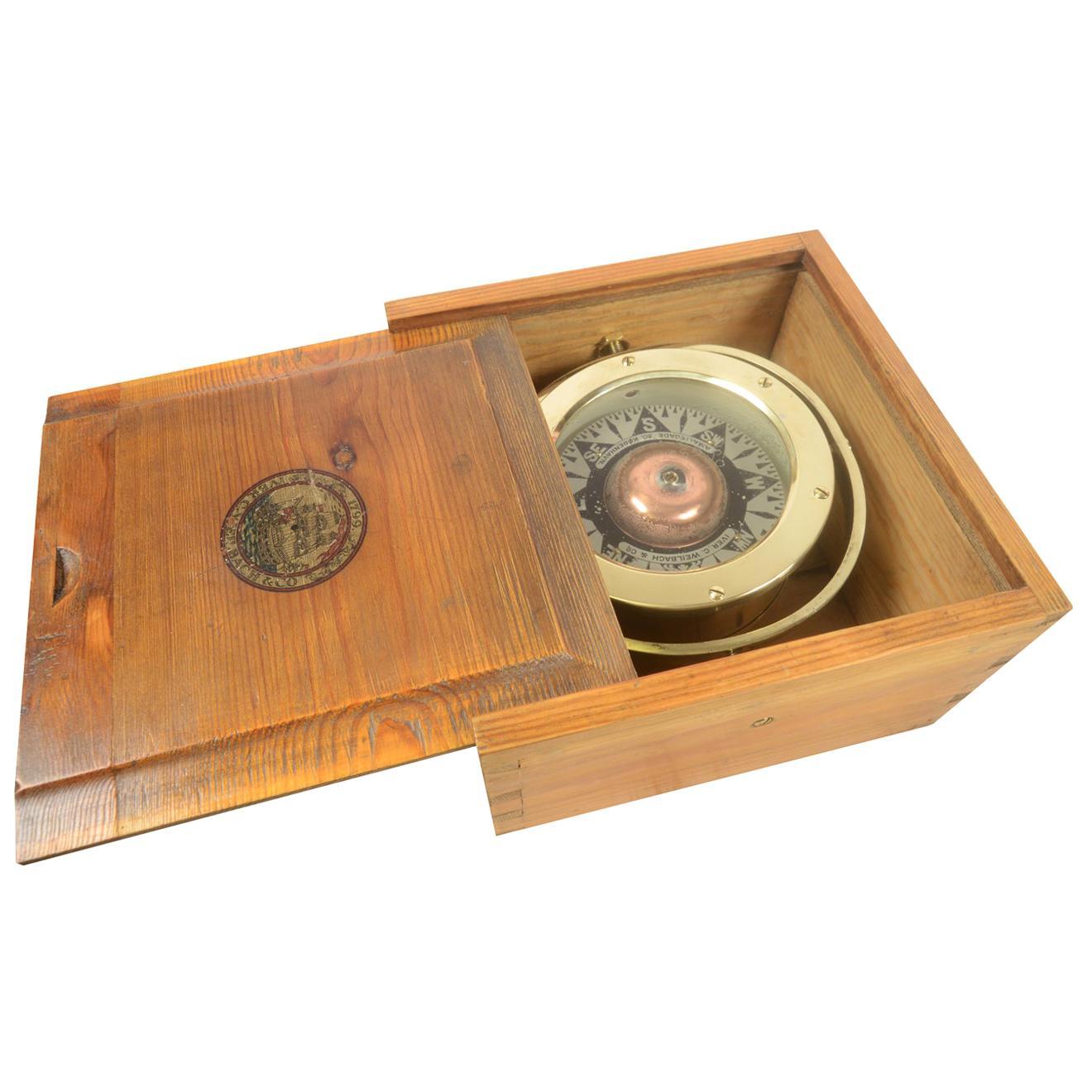 Danish Brass Compass in its Original Wooden Box, 1920s-1930s