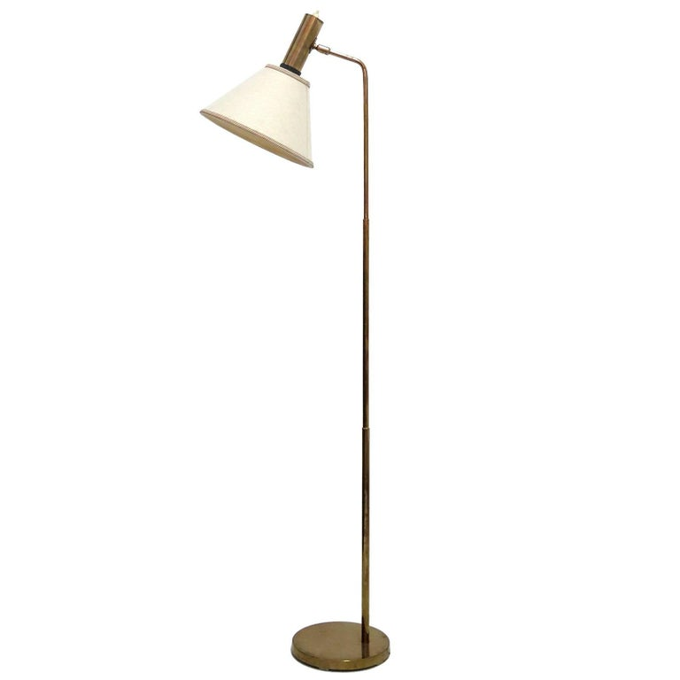 Danish Brass Floor Lamp by Bergboms For Sale