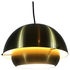 Danish Brass Metal Pendant Lamp by Super Light, 1970s