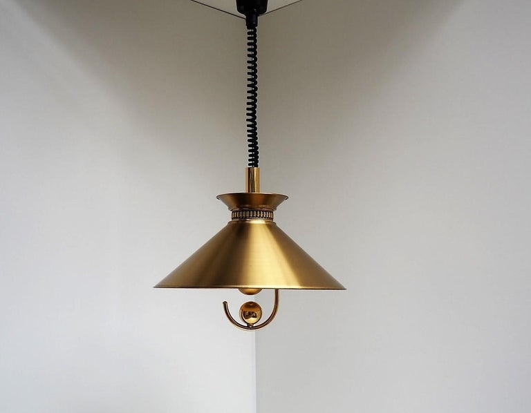 Lacquered Danish Brass Pendant by Company Frandsen, Vintage Midcentury Design, 1970s For Sale
