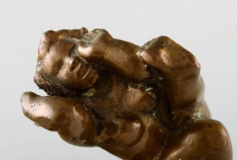 Scandinavian Modern Danish Bronze Sculptor, a Pair of Patinated Bronze Figures, Naked Women For Sale