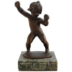 Danish Bronze Sculpture on a Marble Base, Little Girl, Dated 1942