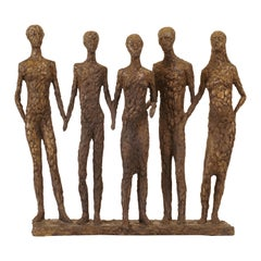 "Danish Bronze Sculpture ""The Five"" by Hanne Warming, Born 1939"