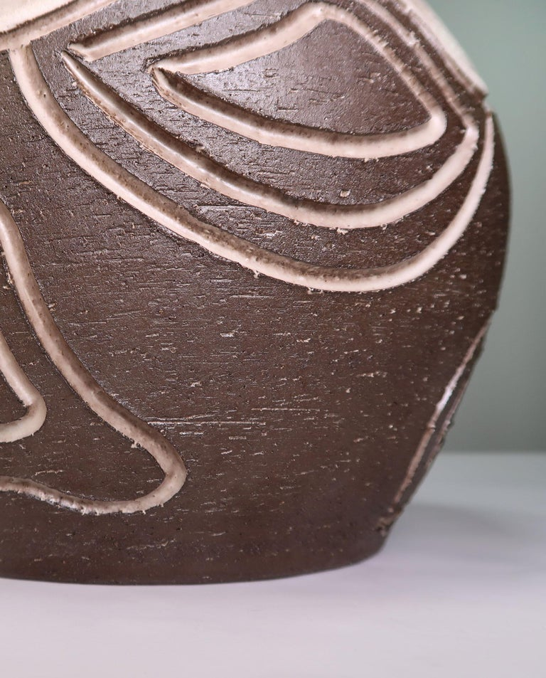 Ceramic Danish Brown, Beige Wavy Relief Rustic Stoneware Table Lamp by Løvemose, 1960s For Sale