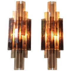 Danish Brutalism, Grey Acrylic Sconces by Claus Bolby for CeBo Industri, 1970s