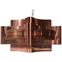 Danish Brutalist Copper Pendant Lamp by Svend Aage Holm Sørensen, 1960s