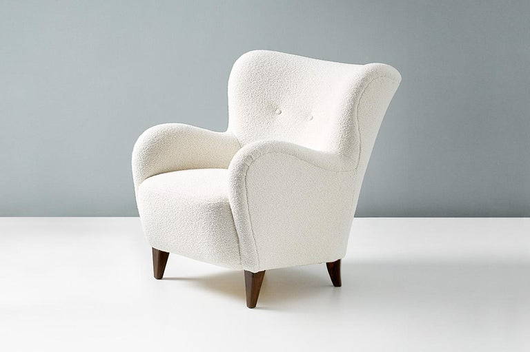 Bouclé Danish Cabinetmaker 1940s Boucle Armchair For Sale