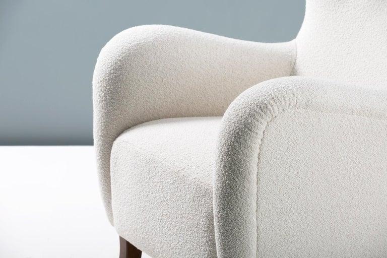 Scandinavian Modern Danish Cabinetmaker 1940s Boucle Wing Chair For Sale