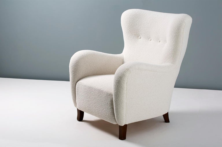 Mid-20th Century Danish Cabinetmaker 1940s Boucle Wing Chair For Sale