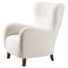 Danish Cabinetmaker 1940s Boucle Wing Chair