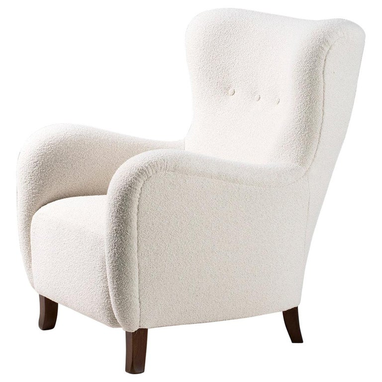 Danish Cabinetmaker 1940s Boucle Wing Chair For Sale