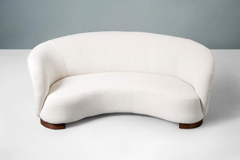 Scandinavian Modern Danish Cabinetmaker 1940s Curved Boucle Sofa For Sale