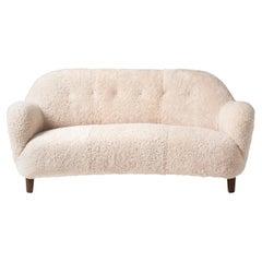 Danish Cabinetmaker 1950s Curved Sheepskin Sofa