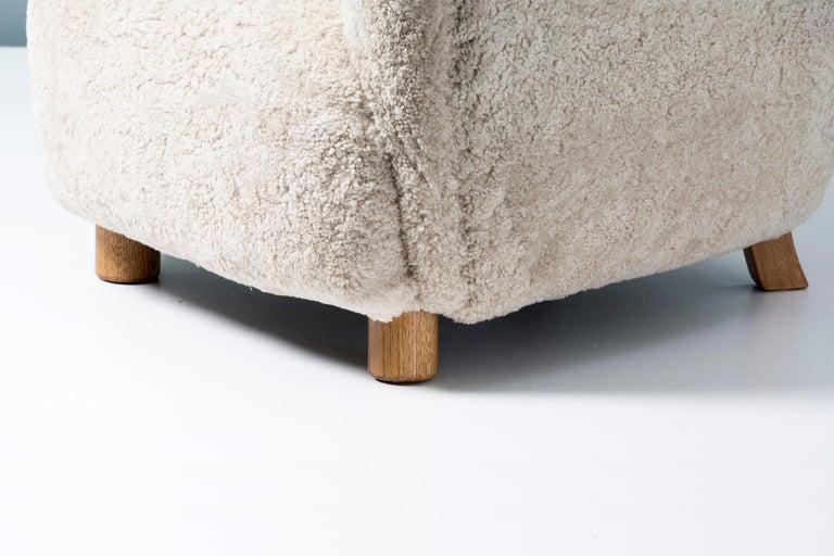 Scandinavian Modern Danish Cabinetmaker 1950s Sheepskin Armchair For Sale