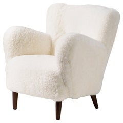 Danish Cabinetmaker 1950s Sheepskin Lounge Chair