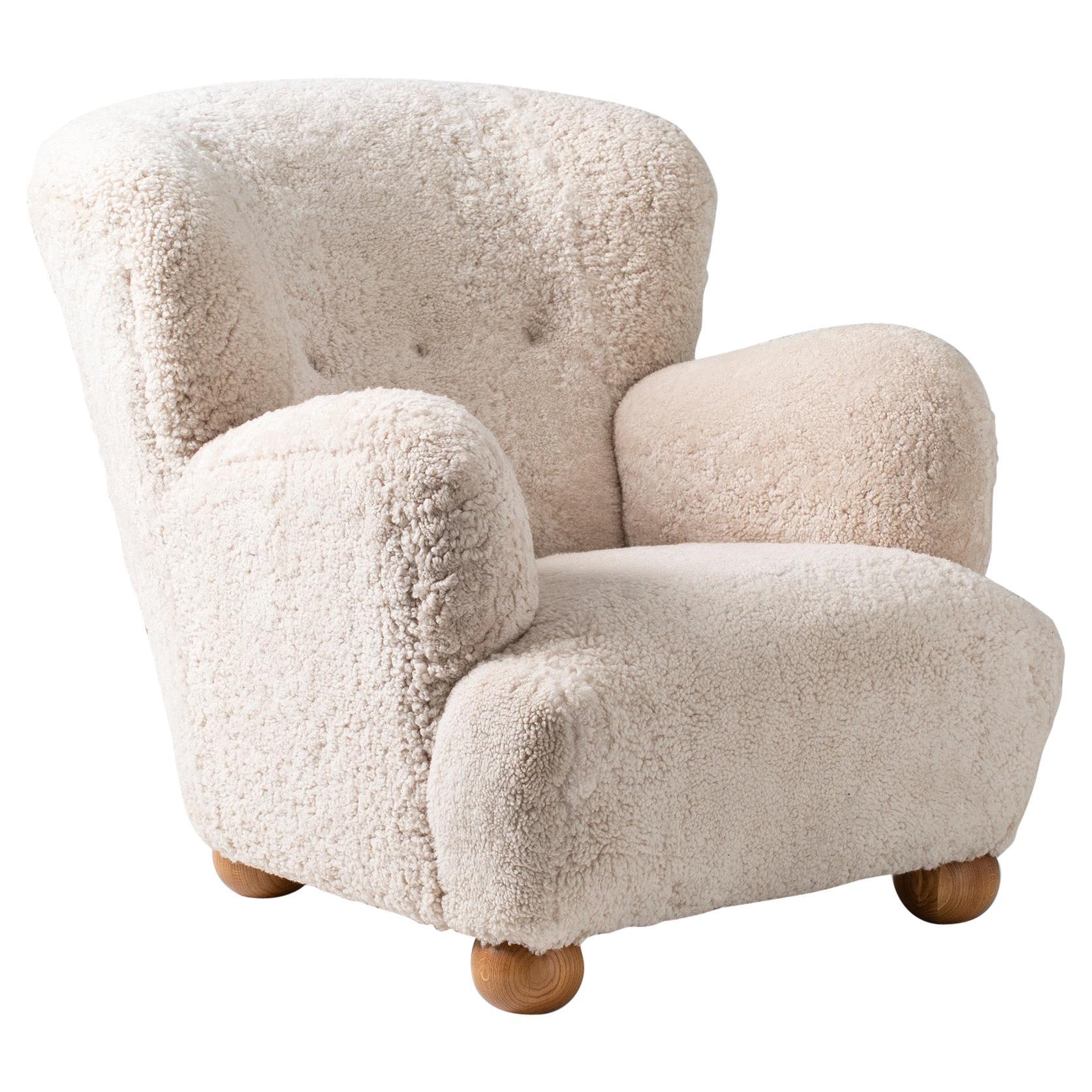 Danish Cabinetmaker 1950s Sheepskin Lounge Chair