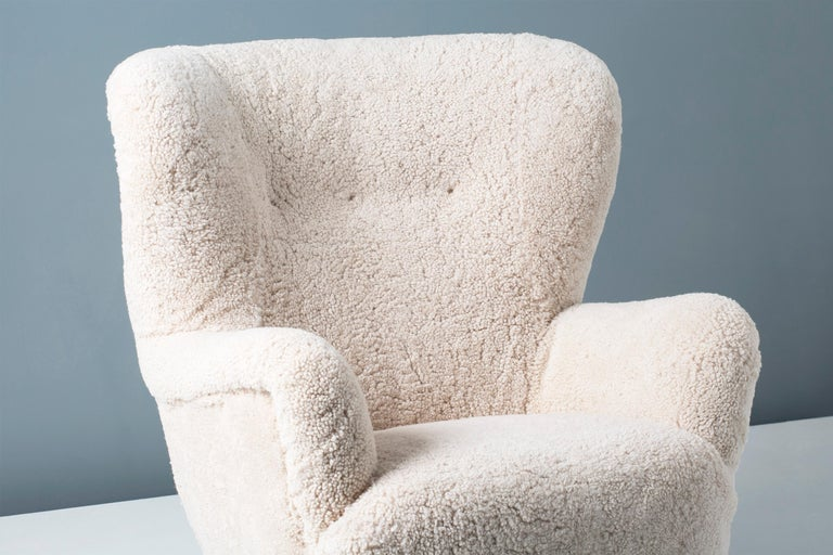 Danish Cabinetmaker 1950s Sheepskin Wing Chair In Excellent Condition For Sale In London, GB