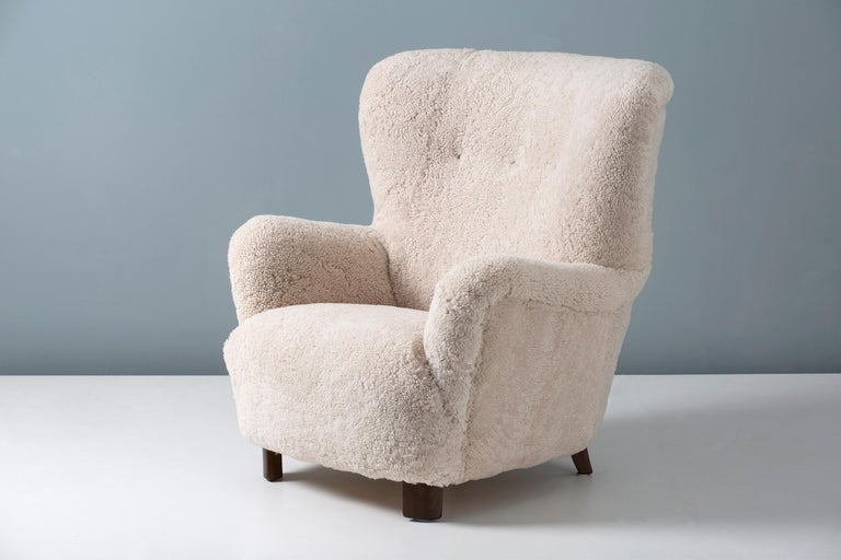 Mid-20th Century Danish Cabinetmaker 1950s Sheepskin Wing Chair For Sale