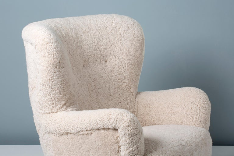 Danish Cabinetmaker 1950s Sheepskin Wing Chair For Sale 1