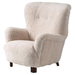 Danish Cabinetmaker 1950s Sheepskin Wing Chair