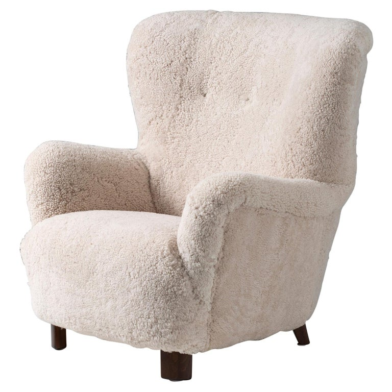Danish Cabinetmaker 1950s Sheepskin Wing Chair For Sale
