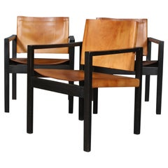 Danish Cabinetmaker, Armchairs and Saddle Leather, 1970s