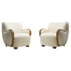 Danish Cabinetmaker Armchairs with Curved Armrests, Denmark, 1940s