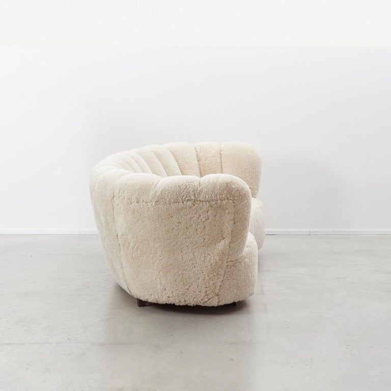 Sheepskin Danish Cabinetmaker Banana Sofa For Sale