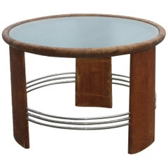 Danish Cabinetmaker Circular Art Deco Coffee Table of Oak with Metal Rails