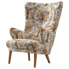 Danish Cabinetmaker Highback Chair with Floral Upholstery