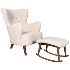 Danish Cabinetmaker, Lounge Chair and Ottoman Lambwool, 1940s