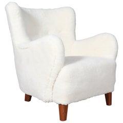 Danish Cabinetmaker, Lounge Chair Lamb Wool, 1940s