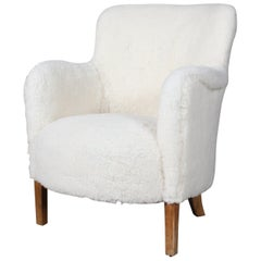 Danish Cabinetmaker, Lounge Chair Lamb Wool, 1940s