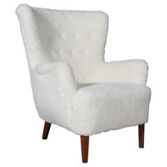 Danish Cabinetmaker, Lounge Chair Lambwool, 1940s