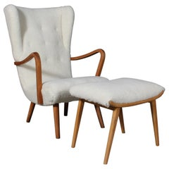 Danish Cabinetmaker, Lounge Chair Lambswool, 1940s